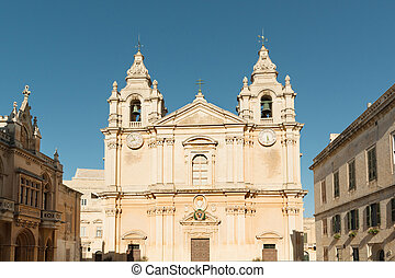 Ancient Mdina - Famous St Paul cathedral in Mdina, Malta
