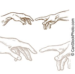 Creation of Adam hand draw