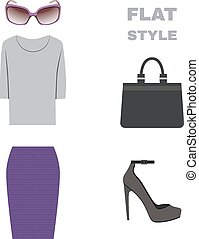Flat Style. Womans Look. Fashion wear. Vector