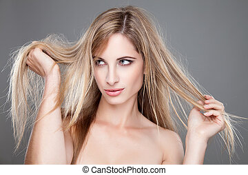 Beautiful woman with long messy hair - Beautiful woman with...