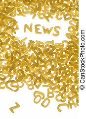 news concept - word NEWS made of pastas letters, white...