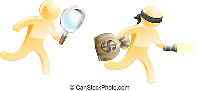 Escaping criminal - A detective mascot with a magnifying...