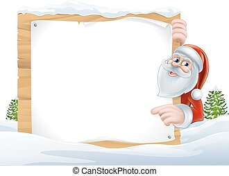 Santa Cartoon Christmas Sign - An illustration of a cute...
