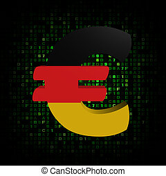 Euro symbol with German flag on hex code illustration