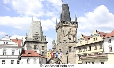prague cityscape - prague, a bridge tower of the Charles...