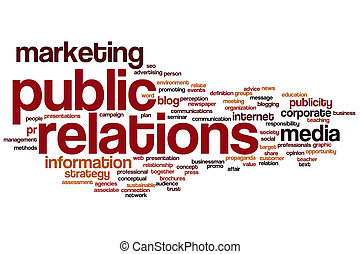 Public relations word cloud concept with marketing...