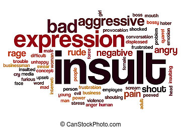 Insult word cloud concept with rude angry related tags