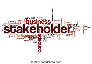 Stakeholder word cloud concept with business budget related...
