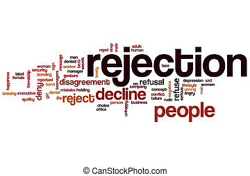 Rejection word cloud concept with decline reject related...
