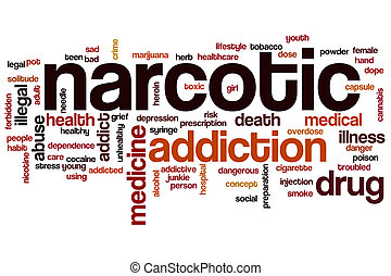 Narcotic word cloud concept with addiction drug related tags