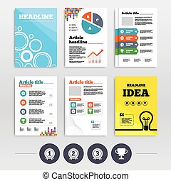 First, second and third place icons. Award medal - Brochures...