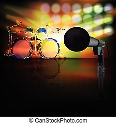 abstract music background with drum kit and microphone -...