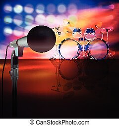 abstract music background with drum kit and microphone on...