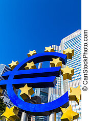 Euro sign in Frankfurt - Euro sign. European Central Bank...