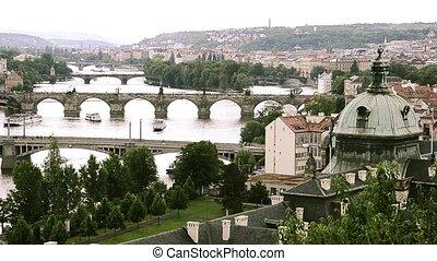 prague cityscape - prague, vitava river