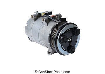car air conditioning compressor on a white background,car...