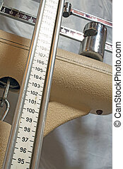 long measuring rod of an old Pediatric scales to measure the pat