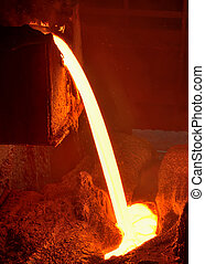 Pouring of liquid metal in open hearth workshop of the...