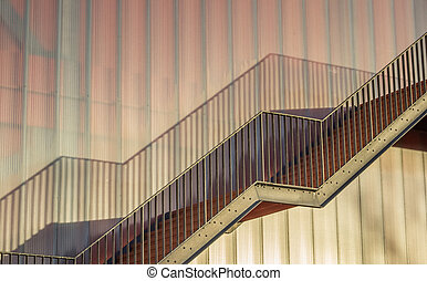 Steel stairs on a modern building of the Groningen...