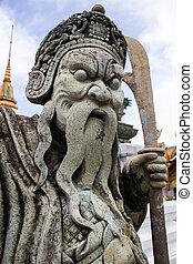 Chinese statue at Wat Phra Kaew, Bangkok Thailand