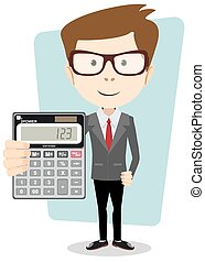 Businessman or Accountant with a Calculator, Vector...
