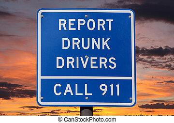 relatório, Motoristas, sinal, pôr do sol, bêbado