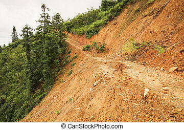Close view of landslide in china - Close view of landslide...