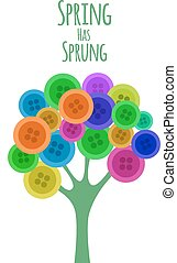 Abctract buttons tree. Spring has sprung. Vector...