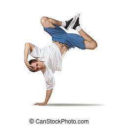 Hip hop dancer - Young pretty boy dancer in jump isolated on...