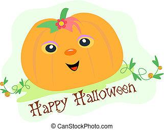 Happy Halloween Pumpkin in a Field