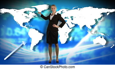 Businesswoman showing a business graph - Animation of a...