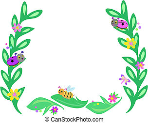 Frame of Big Leaves, Bees, Ladybugs, and Butterflies