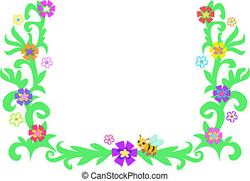 Retro Frame of Leaves, Vines, Bee, and Flowers