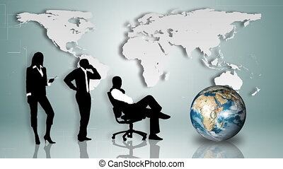 Business people silhouettes with a world map in the background
