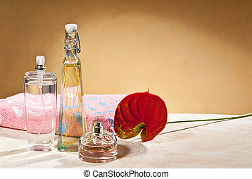perfumes with a flower in the bathroom