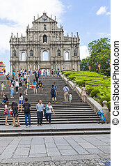 Macau day scene - MACAU: SEP 1 : Tourists visit the ruined...