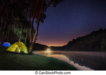 Small Camping Tent Illuminated Inside Night Hours Campsite...