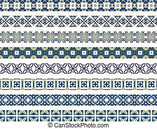 Portuguese borders - Set of eight illustrated decorative...
