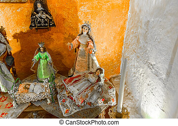 Altar, and, icons, in, old, church, in, Arequipa, Peru,...
