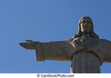 christ the lord statue in almada portugal