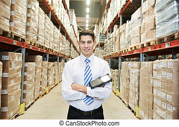 manager worker in warehouse - male manager man worker...