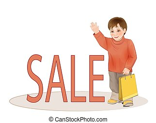 Cute kid with paper bag. Sale of children's clothing.