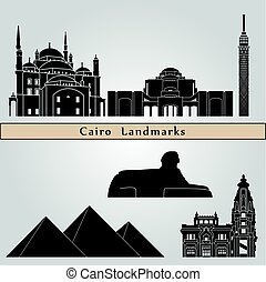 Cairo landmarks and monuments isolated on blue background in...