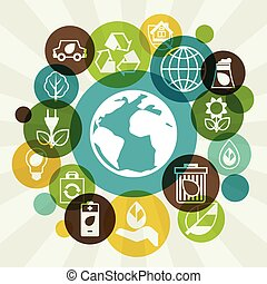 Ecology background with environment icons - Ecology...