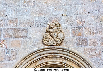 Old angels stone sculpture on the wall of church in Supetar,...