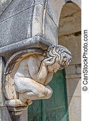 Angel statue door decoration - Angel statue decoration above...