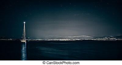 Split sea side by the night - Night scene of a starry sky...