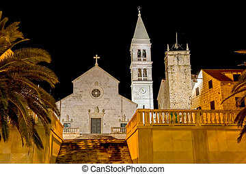 Supetar church by night - The old church and the clock tower...