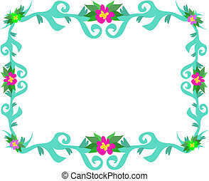 Frame of Teal Leaves and Flowers