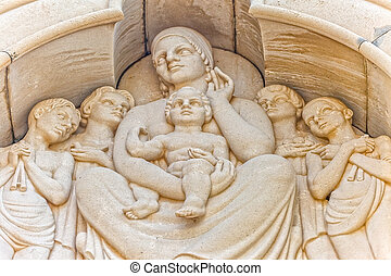 Holy Mother and Child relief statue - Holy Mother and Child...